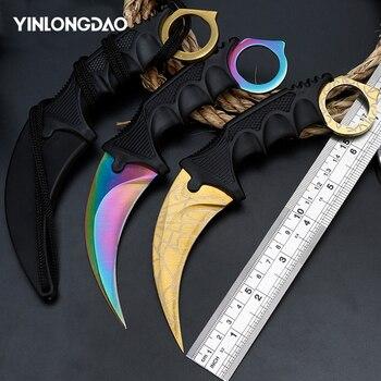 CS GO Contra Golpe garra Karambit cuchillo de cuello con vaina Diente de tigre cuchillo de juego Real rojo, azul, colores dorados cuchillo de Camping