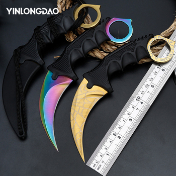 CS GO Counter Strike Claw Karambit Knife Neck Knife With Sheath Tiger Tooth Real Game Knife Red,blue,golden Colors Camping Knife yalku knife handmade hunting karambit cs go never fade counter strike tactical knife claw karambit neck knife real combat