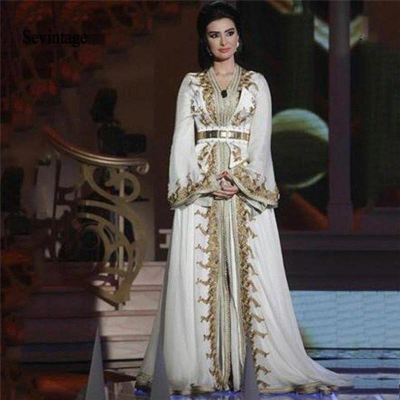 Sevintage Muslim Long Sleeve Moroccan Kaftan Evening Dresses V-Neck Gold Lace Appliques Dubai Prom Gowns Formal Abendkleider