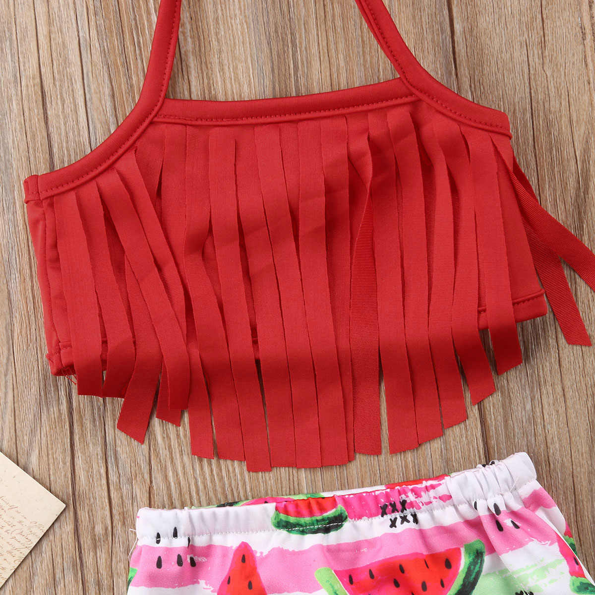 Rumbai Anak-anak Balita Bayi Gadis Semangka Bikini Set Buah Pakaian Renang Baju Renang Baju Renang