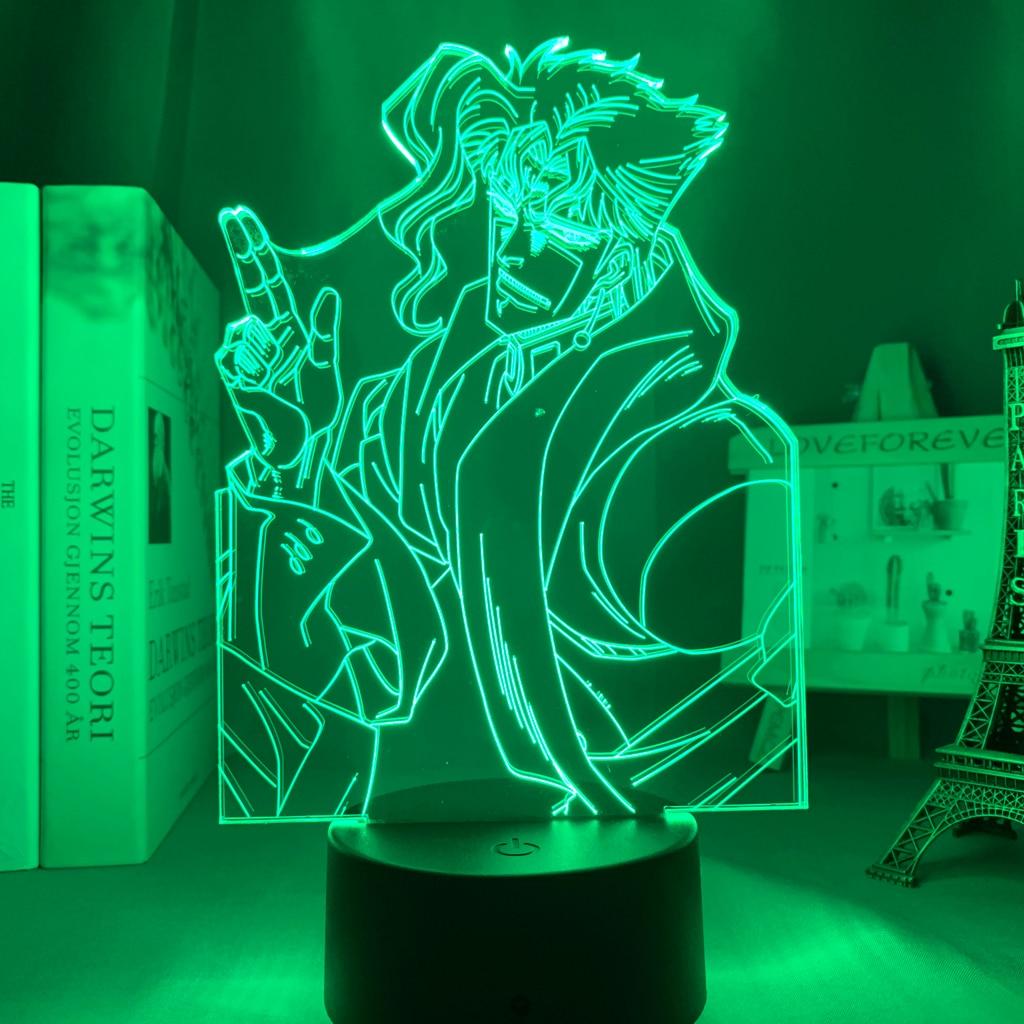 H04d1b142a74543b69ade2f3222c67ca5F Luminária Jojo's Bizarre Adventure noriaki kakyoin 3d luz anime para decoração do quarto luz presente de aniversário manga jojo figura acrílico noite lâmpada