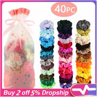 2020 Fashion 40/18 Pcs School Velvet Elastic Hair Bands For Women Or Girls Hair Accessories Schrunchies Pack Dropshipping 40