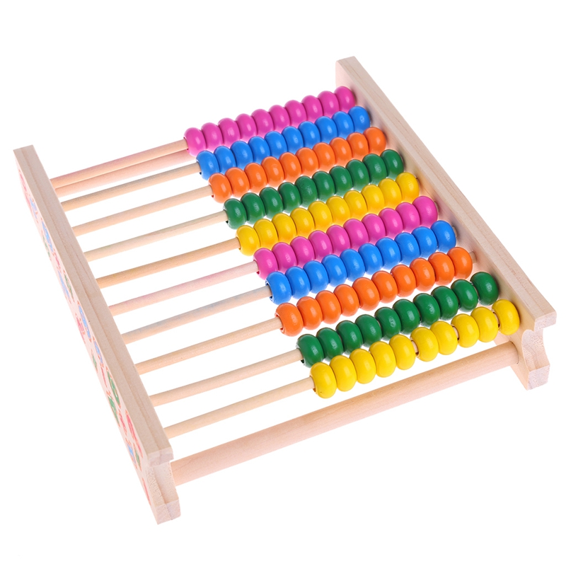 Abacus Wooden Bead Maths Counting Educational 10 Bars For Early Learning Toys Y4UD