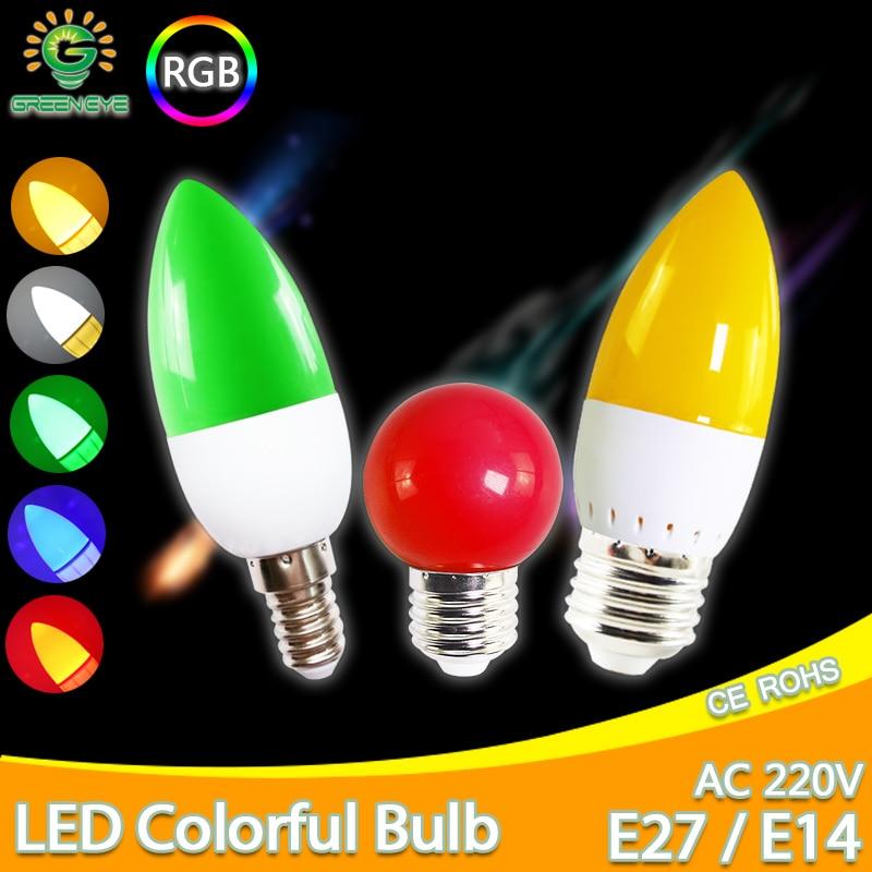 Led Bulb E27 E14 3W G45 C35 RGB LED Lamp Colorful Led Candle Light SMD 2835 AC 220V 240V Flashlight Globe Bulbs Home Decor For H