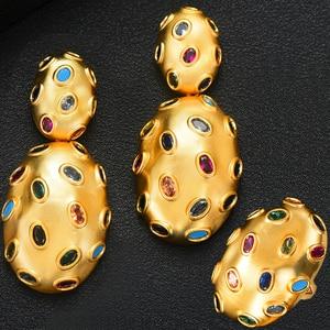 Image 1 - GODKI 2019 Trendy Charms DUBAI Statement Earring Ring Jewelry Sets for Women Gold Cubic Zirconia Earrings Wedding Jewelry Set