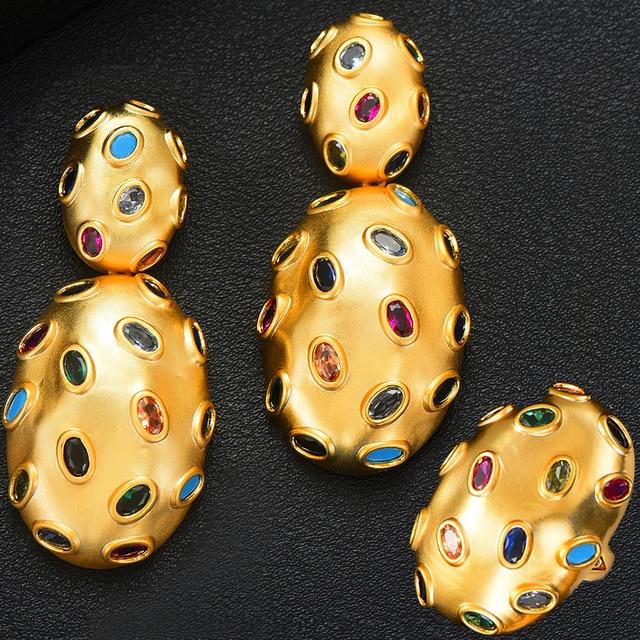 GODKI 2019 Trendy Charms DUBAI Statement Earring Ring Jewelry Sets for Women Gold Cubic Zirconia Earrings Wedding Jewelry Set