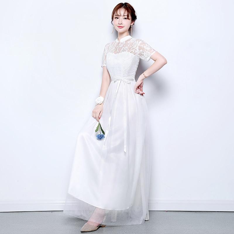 White Wedding Guest  Elegant Dress Women For Wedding Party Host  Tulle Bridesmaid Dresses Sexy Prom Club Vestido De Festa Longo