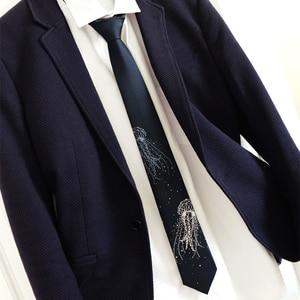 Image 5 - Free shipping New Mens male fashion printed Original Deep Sea Jellyfish bilingbiling embroidery deep blue tie light necktie