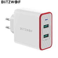 BlitzWolf 36W USB 빠른 충전기 EU 플러그 듀얼 포트 어댑터 벽 충전기 Xiaomi roidmi 2s S9 for iPhone 8 for Huawei P10 P20
