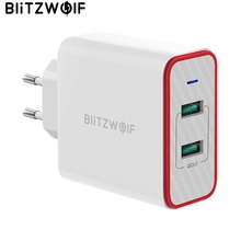 BlitzWolf 36W USB מהיר מטען האיחוד האירופי Plug הכפול יציאות מתאם קיר מטען לxiaomi roidmi 2s S9 עבור iPhone 8 עבור Huawei P10 P20