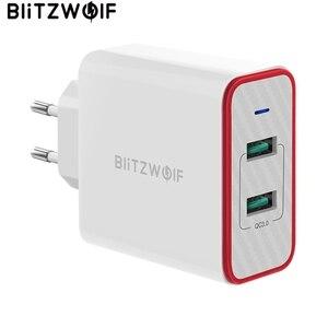 Image 1 - Blitzwolf carregador rápido usb de 36w, plugue ue, adaptador de porta dupla, carregador de parede para xiaomi roidmi 2s s9 iphone 8 para huawei p10 p20