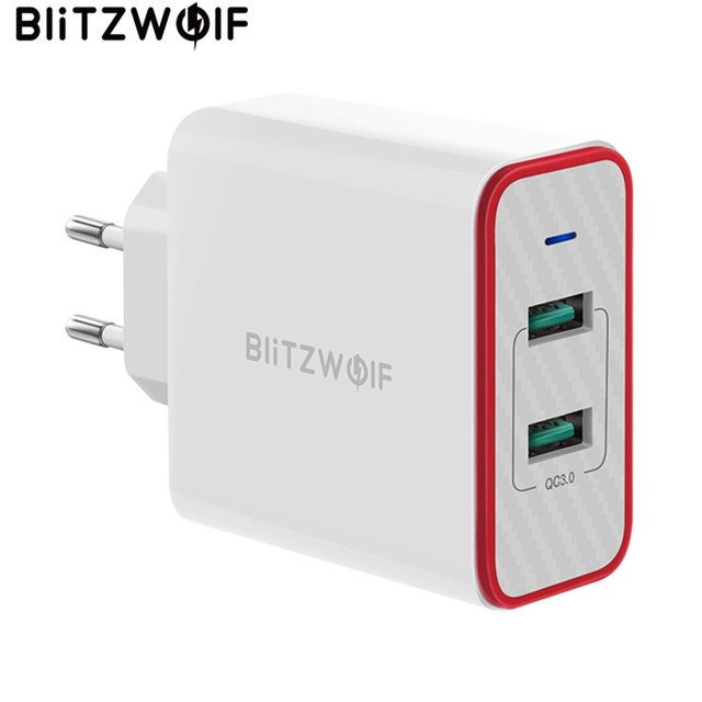 Blitzwolf carregador rápido usb de 36w, plugue ue, adaptador de porta dupla, carregador de parede para xiaomi roidmi 2s s9 iphone 8 para huawei p10 p20