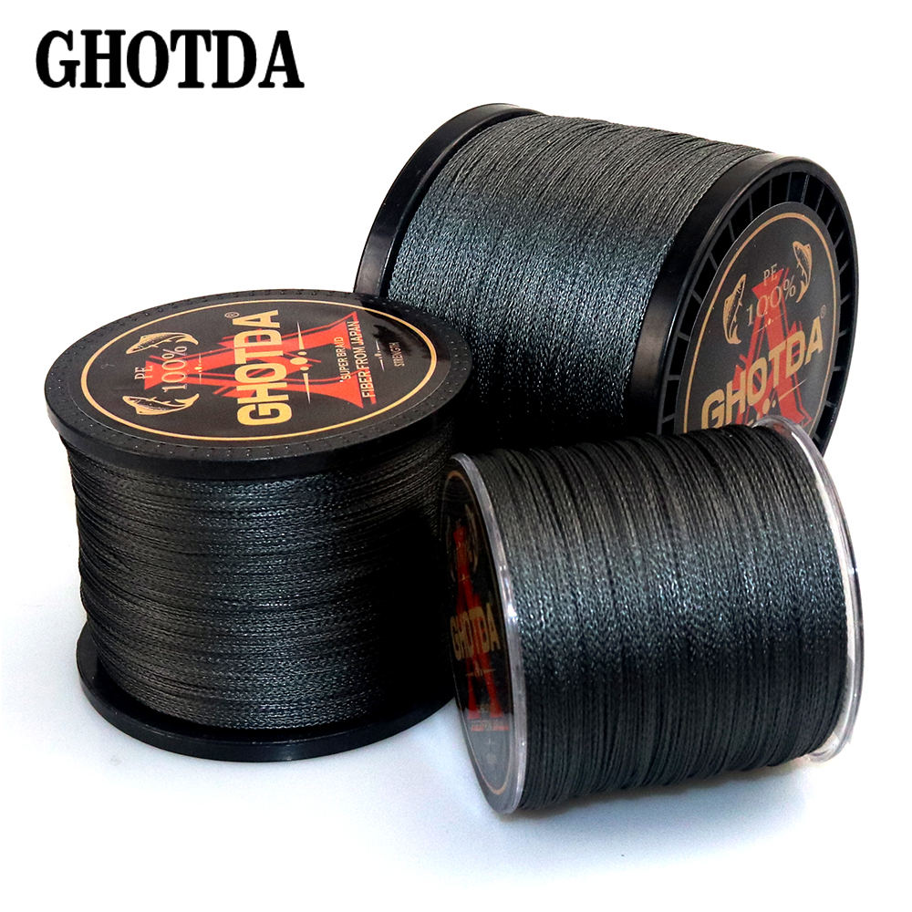 GHOTDA PE Braided Fishing Line Black Multifilament Fishing Cord Strong Saltwater 4 Strands 300M 500M 1000M