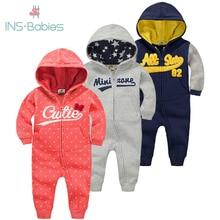 ملابس أطفال حديثي الولادة موضة خريف 2020 ملابس دافئة 6 م 24 م بدلة رياضية للأولاد حديثي الولادة فضفاض بأكمام طويلة للبنات بذلة شتوية قطنية بقلنسوة