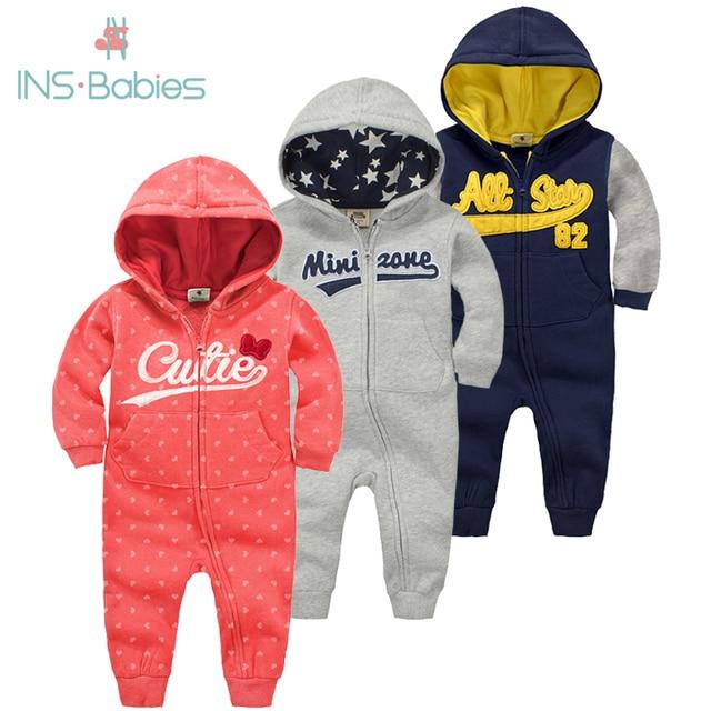 2020 mới cho bé mùa thu đông quần áo ấm 6M 24M bé trai phù hợp với áo sơ sinh dài tay Rompers bé gái có mũ trùm đầu cotton mùa đông Jumpsuit
