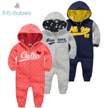 2020 new baby autumn warm clothes 6M 24M boys tracksuit newborn baby long sleeved rompers girls hooded cotton winter jumpsuit
