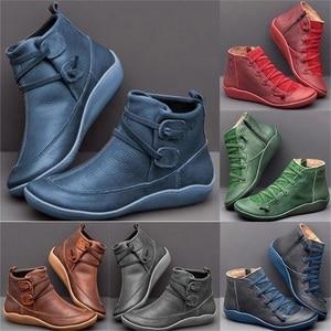 Image 2 - Женские ботильоны из искусственной кожи, осенне зимние ботинки на плоской подошве, Винтажная обувь в стиле панк с коротким плюшем и перекрестными ремешками