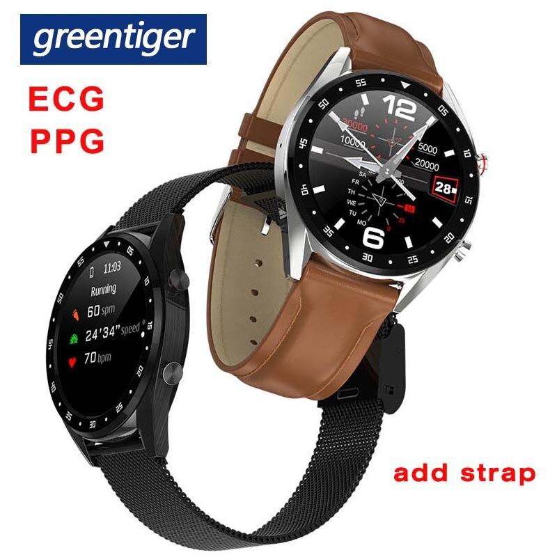 Greentiger L7 Bluetooth montre intelligente hommes ECG + PPG HRV fréquence cardiaque moniteur de pression artérielle IP68 étanche Bracelet intelligent Android IOS-in Montres connectées from Electronique    1