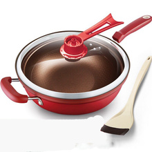 وعاء المطبخ 32 سنتيمتر مقلاة من الحديد الحفاظ على الحرارة فراغ وعاء الغليان وقف إطلاق النار الصحة الحفاظ على عموم مقلاة الطبخ مع أوبريغ
