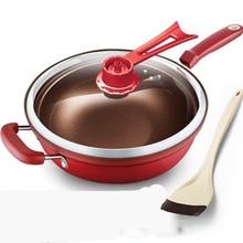 Keuken Pot 32Cm Ijzeren Koekenpan Warmte Behoud Vacuüm Pot Kokend Staakt Brand Gezondheid Behoud Pan Koken wok Pan Met Uprigh