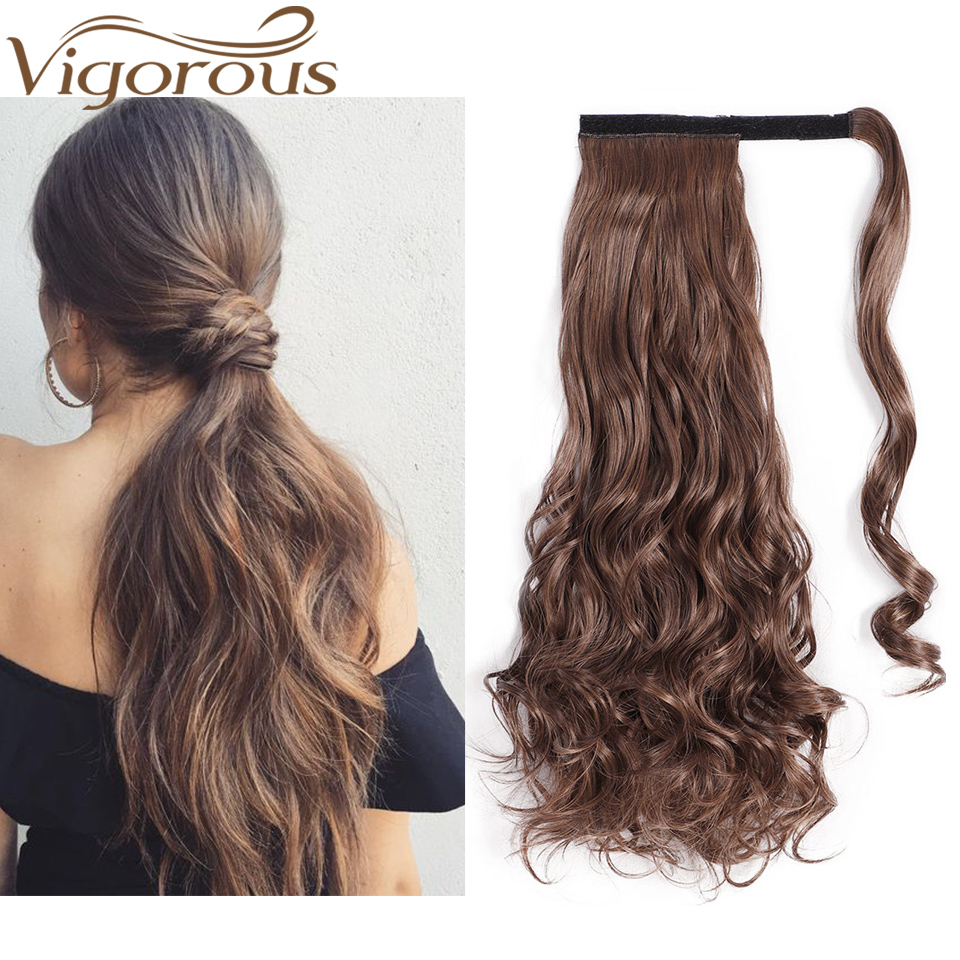 Vigorous Black Wavy Ponytail Long 22Inches Synthetic Hair Women Hairpiece 1Pc Clip Warp Around Ponytail