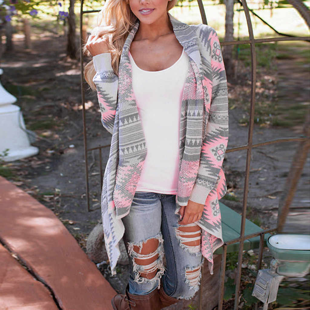 Женский кардиган свитер Повседневный геометрический принт длинный рукав негабаритная Повседневная Верхняя одежда свободный женский кардиган f40