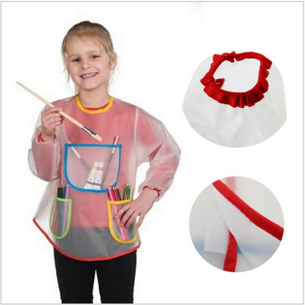 Kids Childrens Apron Art Smock Painting Pottery School Boys Girls Red Large Cartoon Cute Waterproof Cooking Kitchen