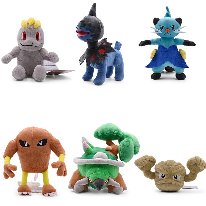 6 StylesDewott Deino Machop Hitmonlee Geodude Torterra Plush Toys Soft Stuffed Animals Doll