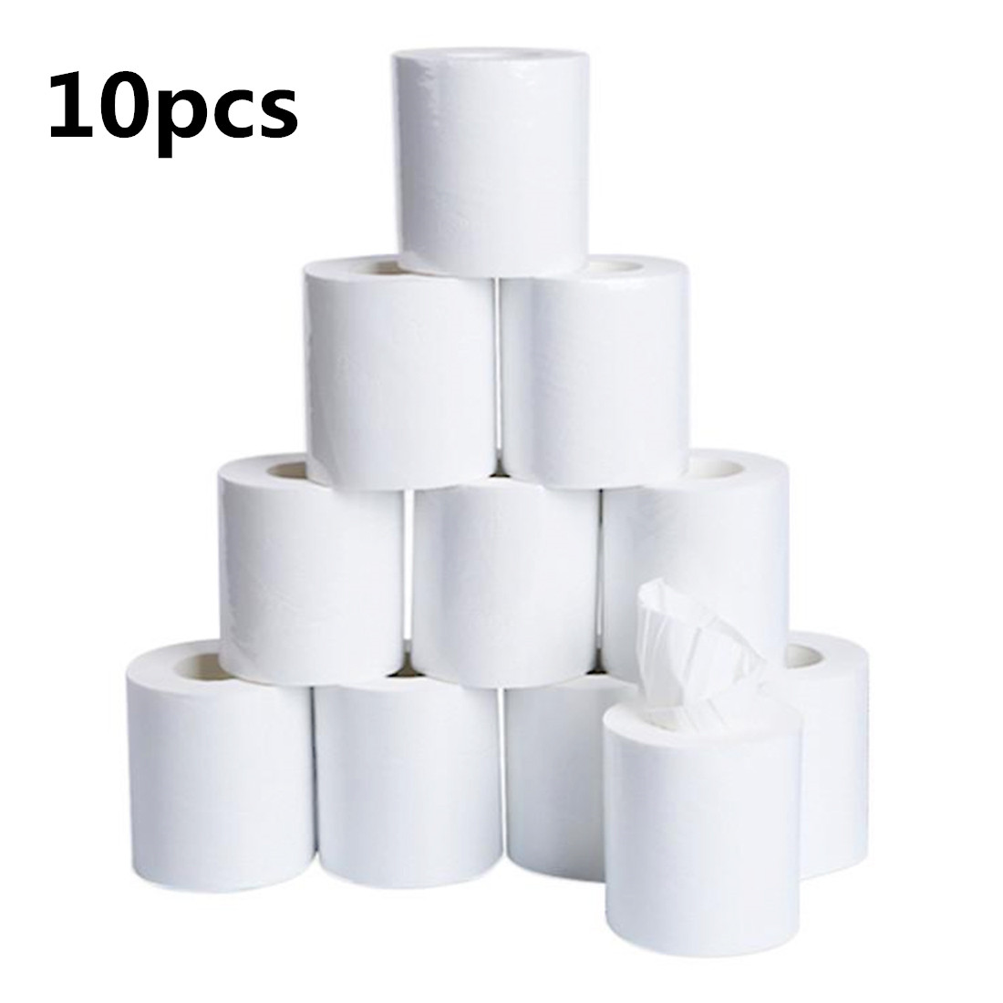 10pcs/bag 3ply White Toilet Tissue Prevent Flu Cleaning Toilet Tissue Clean Soft Toilet Paper Hollow Replacement Roll Paper Z1