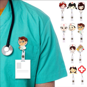 Retractable Badge Reel Nurse Exhibiton ID Name Card Badge Holder Cute Clips Key Card Holder Belt Clips Keychain Car Pendant Key