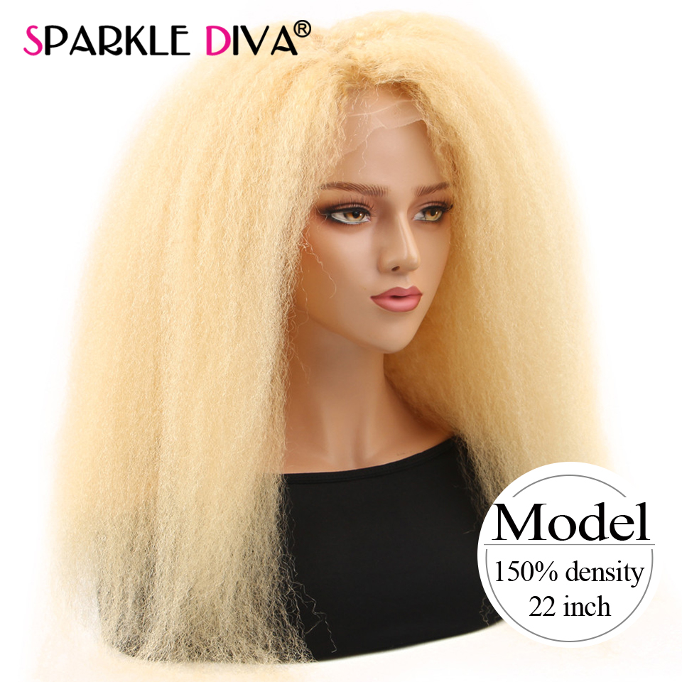 613 Blonde kinky Straight Lace Front Wig Brazilian 13x4 Lace Front Human Hair Wigs Pre Plucked Remy Honey Blonde Human Hair Wigs image