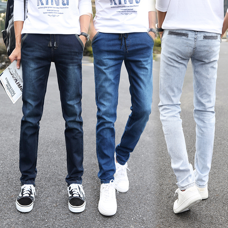 Men's Teenager Elastic Waist Lace-up Cool Joint Jeans Male STUDENT'S Slim Fit Elasticity Skinny Pants Long Pants