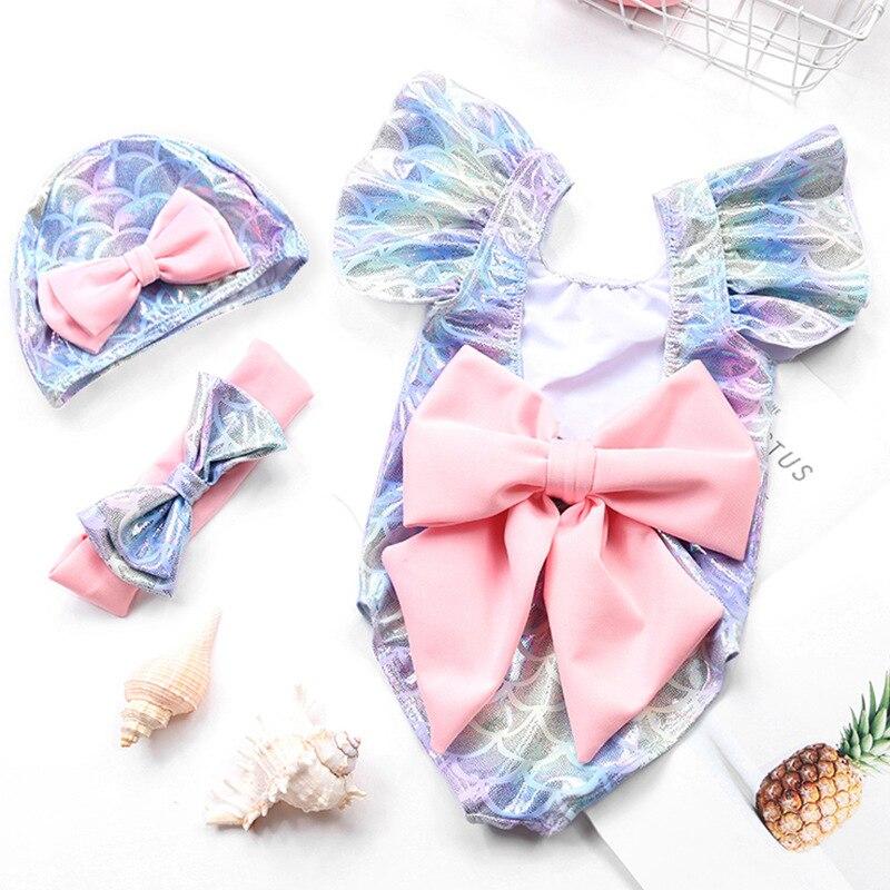 INS Hot Selling Bronze KID'S Swimwear One-piece Girls Baby Bow CHILDREN'S Little Mermaid Princess Clothing Swimwear
