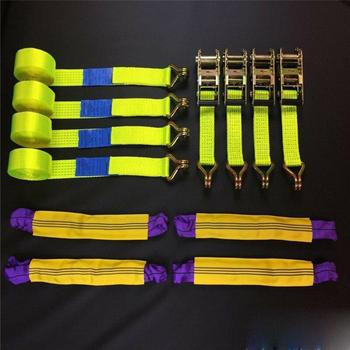 4PCS Recovery Ratchet Kit High Visibility Yellow Car Wheel Fixed Straps Wheel Safety Straps Trailer 5Ton
