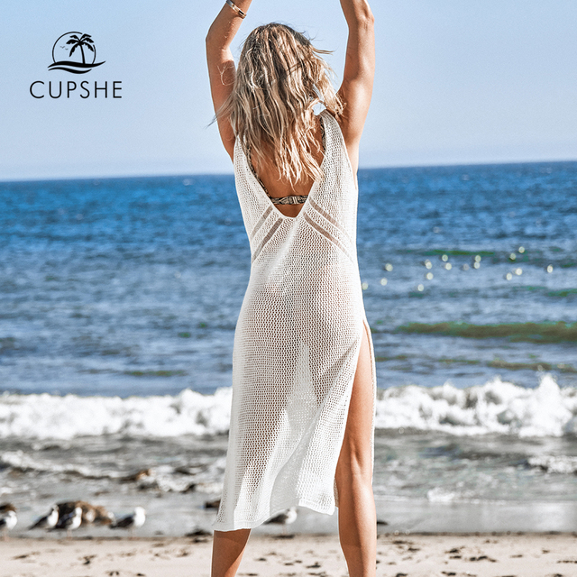 CUPSHE Ivory V-neck Hollow out Cover Up Woman Swimsuit Sexy Side Split Sleeveless Beach Midi Dress 2021 Summer Dress Beachwear 2