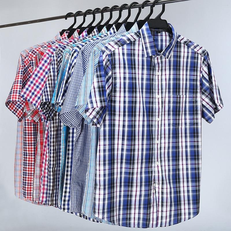 5XL 6XL 7XL 8XL 10XL Men's Plus Size Shirts Fashion casual classic style 100% cotton Comfortable Plaid Short Sleeve Shirt male