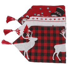 Cotton Embroidered Christmas Table Runners 180*35cm Deer Tree Runner Cloth Cover for Home New Year Decoration