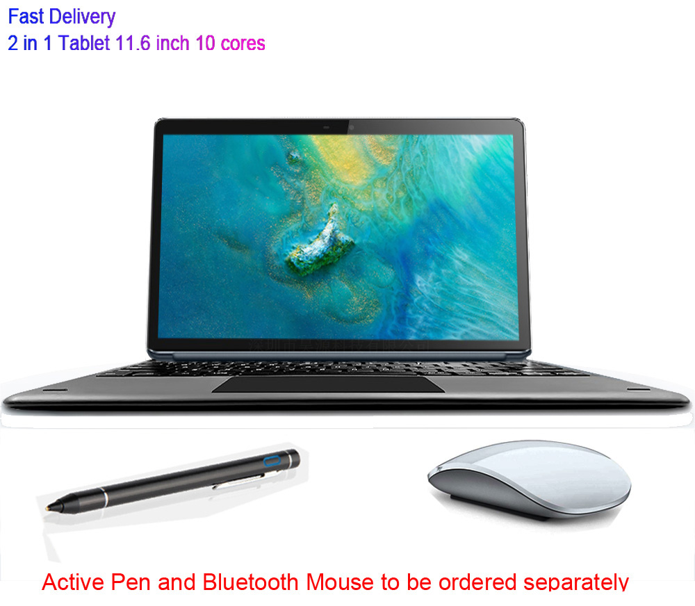 Tablet Laptop 11.6 Inch Android 2 In 1 10 Cores Gaming Music Gps Wifi 4G Sim Card Drawing Google Store Tablet With Keyboard