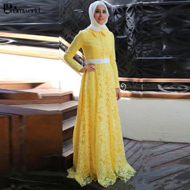 Yellow Long Sleeves Muslim Hijab Evening Gowns Robe De Soiree A-Line Lace Islamic Dubai Saudi Arabic Long Formal Dress Party