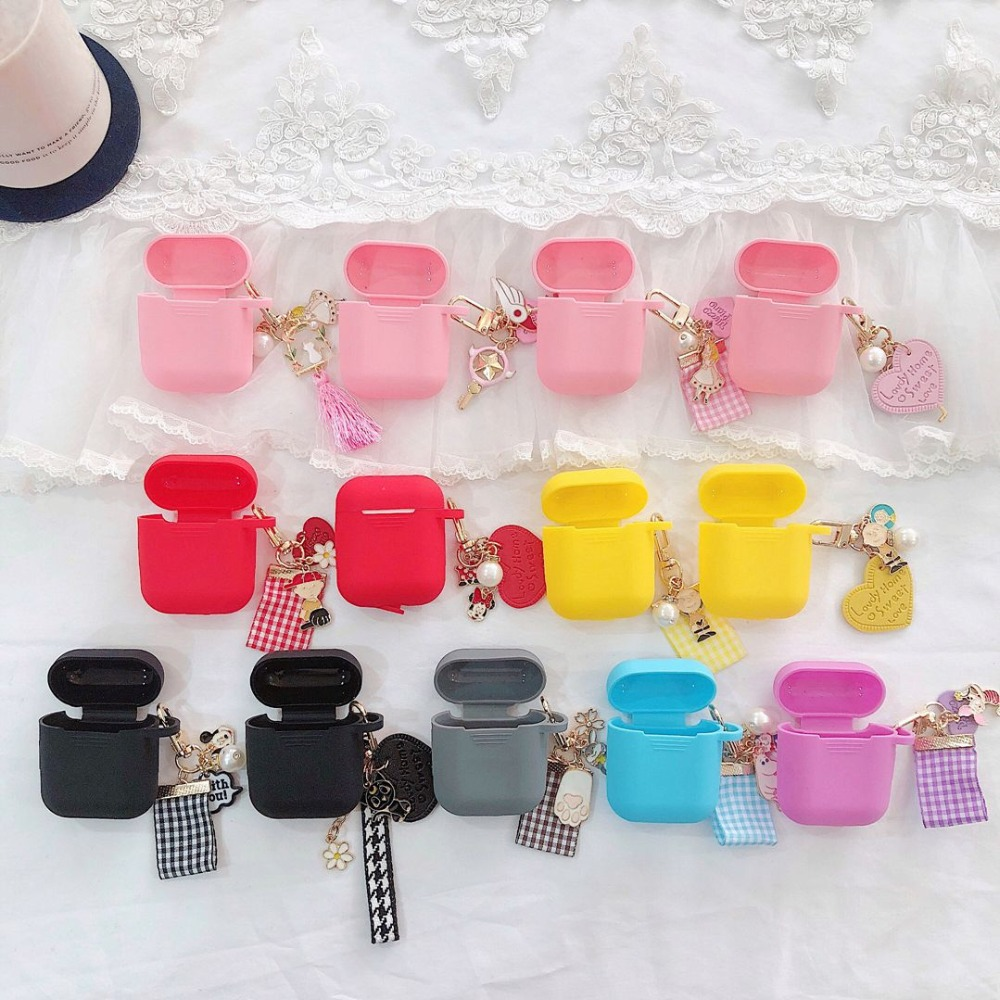 For AirPods 1 2 i9s i9s i10 i11 i13 <font><b>i19</b></font> <font><b>TWS</b></font> Cute Cartoon luxury key ring ornament Silicone Case Korea fashion Earphone Cover image