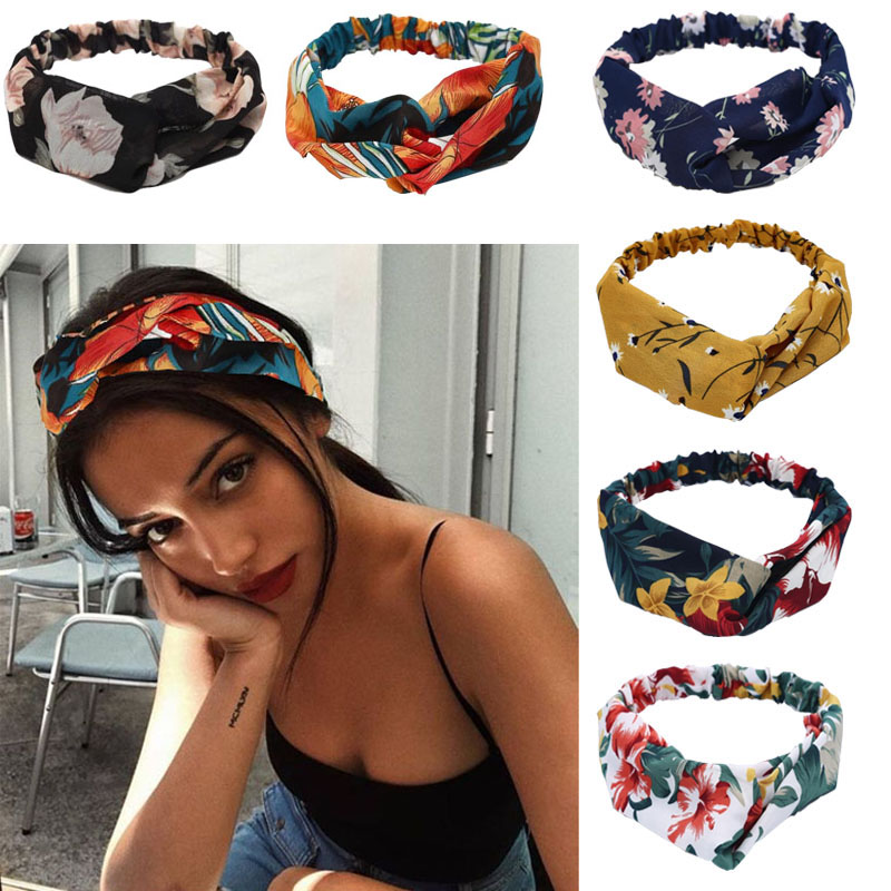 2020 NEW Women Retro  Style Hairband Floral Print Headband  Cross Knot Headband Bandage Bandanas