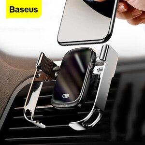 Image 1 - Baseus 10w carro qi carregador sem fio para iphone xs max samsung xiaomi titular do telefone carro inteligente infravermelho rápido sem fio de carregamento