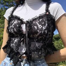 Sweetown czarny Goth estetyczne koronkowe topy kobiety ciemne Academia Vintage Gothic Y2K ubrania V sznurowany dekolt przepuszczalność Crop Top na imprezę