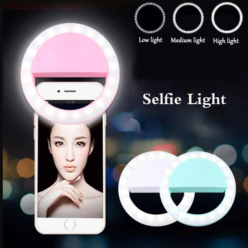 Rovtop LED Selfie Ring Light Supplementary Lighting Night Darkness Selfie Enhancing Fill Light For Phones