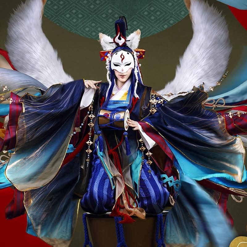 Anime! Onmyoji Tamamo no Mae Unawakening Beginning Skin Kimono Gorgeous Uniform Cosplay Costume Halloween Full Set Free Shipping