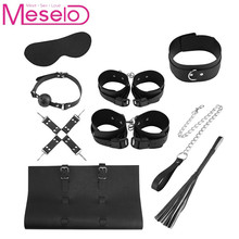 Meselo Faux Leather Bondage Set Blindfold Collar Leash Handcuffs Ankle Cuffs Ball Gag Sex Toys For Couples Harness Bondage Set