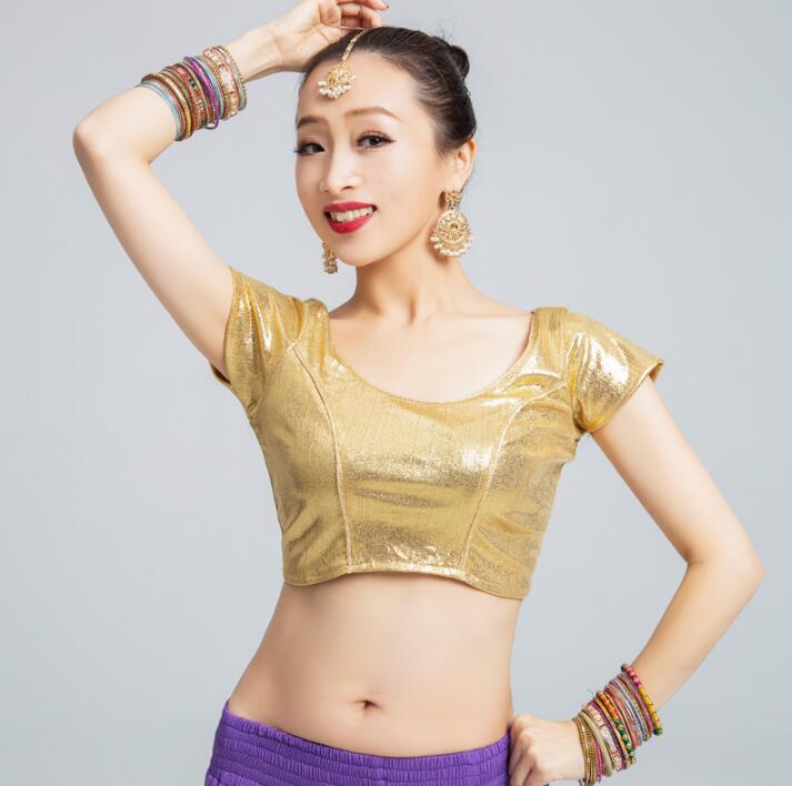 India Dance National Style Leisure Blouse Lehenga Performance Woman Gold Short Top