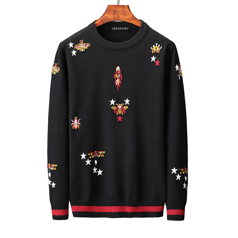 New 2019 Men Luxury Winter Star Bee Crown Rocket Embroidered Casual Sweaters Pullover Asian Plug Size High Quality Drake #N56