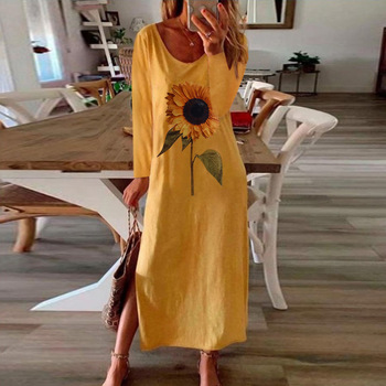 Sunflower Print Split Summer Autumn Dress Women Elegant 2020 Long Sleeve Plus Size Maxi Dresses for Women Vestidos casual long sleeve geometric print plus size dress for women