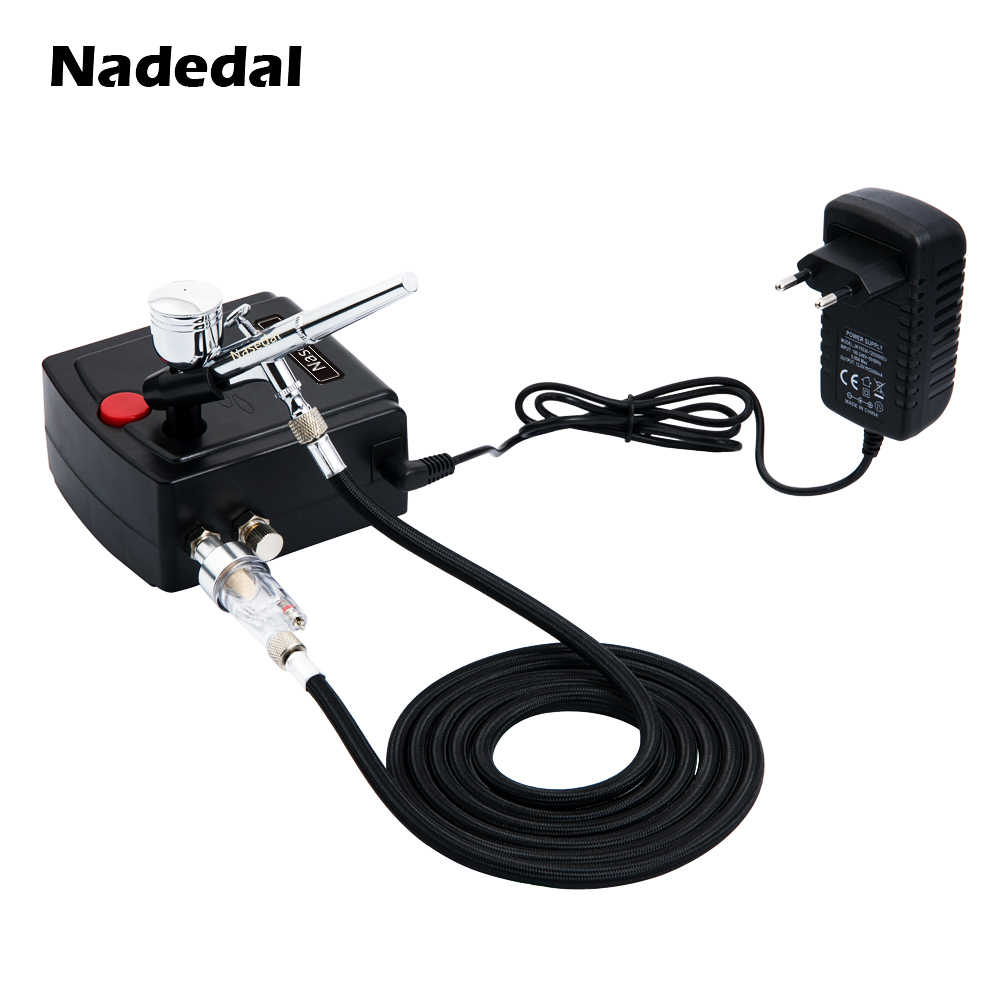 Nasedal Dual-Action Airbrush Spray Gun Mini Airbrush Compressor Kit Airbrush for Nail Art Makeup Tattoo Model Cake Car paint